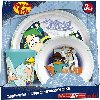 Disney Phineas and Ferb 3Piece Mealtime Set Plate, Bowl Tumbler - 1