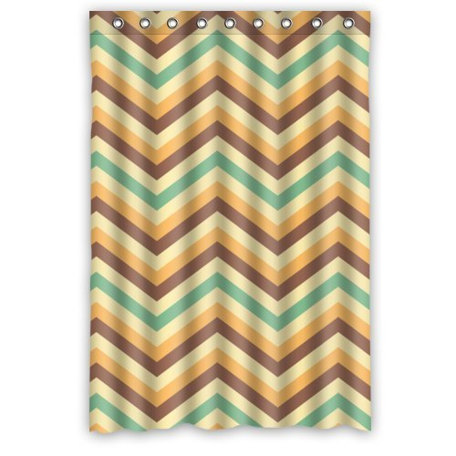 ... Orange and Gray Chevron Pattern Shower Curtain - Standard White Click