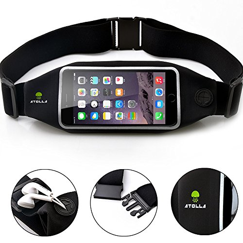 ATOLLA Sports Running and Fitness Phone Waist Pack Belt for iPhone 6 plus, Galaxy Note 4/3/2 (Black Size L for the Phone Under 5.7 inches)