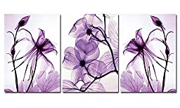 Spirit Up Art Hot Sell Transparent Purple Flowers HD Print on Canvas Abstract Art Modern Home Decoration Wall Painting Set of 3 Each 40*60cm #11-synj-11 (unframed)