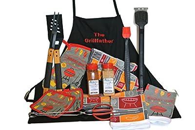 BBQ Guru Gift Set Bundle of 14 Items The Grillfather Custom Apron, Cajun Spice, Sweet Meat Rib Rub, Grilling Untensils, BBQ Mitt, Pot Holders and Towels