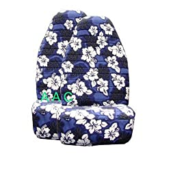 Set of 2 Universal-fit Hawaiian Front Bucket Seat Cover - Blue Hawaii Hibiscus Floral Print