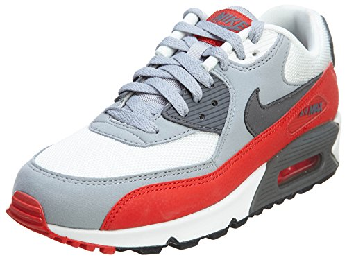 Nike Mens Air Max 90 Essential Running Shoes Wolf Grey/Challenge Red/White 537384-039 Size 11