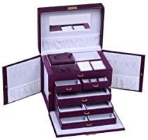 Hot Sale SHINING IMAGE LARGE PURPLE LEATHER JEWELRY BOX / CASE / STORAGE / ORGANIZER WITH TRAVEL CASE AND LOCK