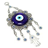 Turkish Blue Evil Eye (Nazar) Flower Hamsa Hand Amulet Wall Hanging Home Decor Protection Good Luck Blessing Housewarming Birthday Gift US Seller