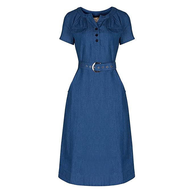 1940s Day Dresses Teoni Denim A-line Utility Dress                                             $54.99 AT vintagedancer.com