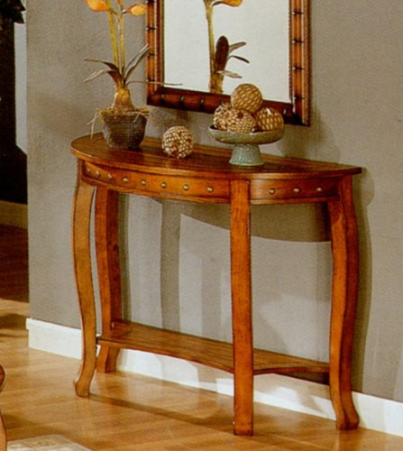 Cheap Traditional Golden Oak Finish Console Sofa Table w/Nail Head Trim (VF_F6030)