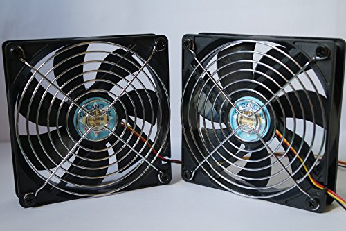 CANO (2-PACK) cooling fan 12CM with Grill long life Dual Ball Bearing fan for pc, Computer Cases, CPU Coolers, and Radiators , TV Box Router Cooler (120mm DC12V, 4pin PWM ) (Garage Controlers compare prices)