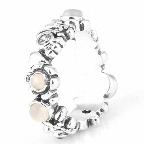 Taotaohas-(1Pc) Oxidized Antique 100% Solid Sterling 925 Silver Ring, [ Name: Nature'S Serenity, Uk Size: L 1/2, Us Size 6, Eu Size 52, Stone Color: Clear And White ], Made With Swarovski Elements Crystal Czech Rhinestone, Fit European Bracelets Necklaces