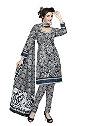 Araham White and Black Printed 100% Cotton Unstitched Salwar Suit Dress Material