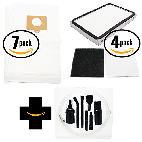 21 Replacement Kenmore 11625812508 Vacuum Bags, 4 HEPA Filter & 4 Foam Filter with 7-Piece Micro Vacuum Attachment Kit - Compatible Kenmore 50558, 5055, 50557, Type C Vacuum Bags; 86889, EF-1 Filter & 86883, CF-1 Filter