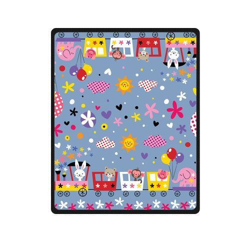 Fashion Blanket Custom Lovely Cartoon Animal In The Train Pattern Picture Fleece Blanket 40 X 50 Machine Washable back-918904