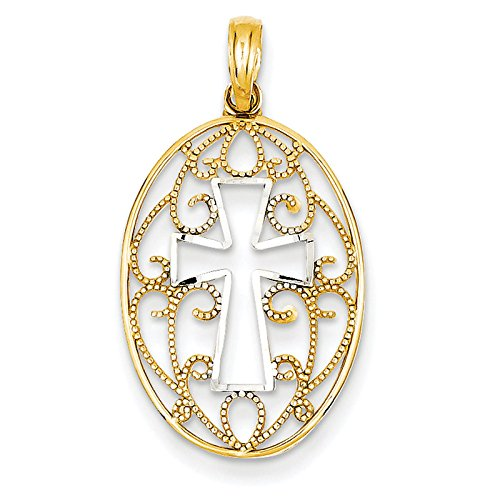 14K Yellow Gold And Rhodium Polished Cross In Oval Pendant. Metal Wt- 1G