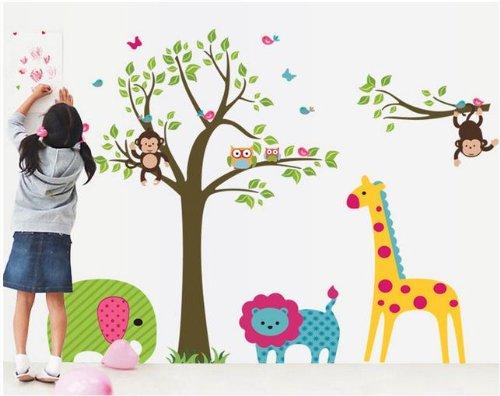 Jungle Animals Safari Wall Decal Baby Nursery Room Wall Art Monkey Tree Wall Sticker Removable Owl Monkey Elephant Giraffe Lion Baby Girl'S Wall Decor front-500292