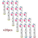 HLC 20PCS Toothbrush Replacement Electronic Tooth Brush Heads Spare Brushes compatible with Oral B
