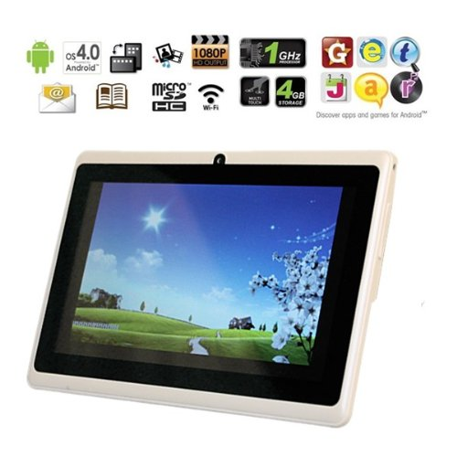 AGPtek® 7″ Android 4.0 Capacitive Touch Screen E-reader Tablet PC (Wi-Fi, G-Sensor, 1GHz, 512M DDR3, Support 3G 3D Game HDMI 1080P Flash 11.1, 4GB Built-In Storage)