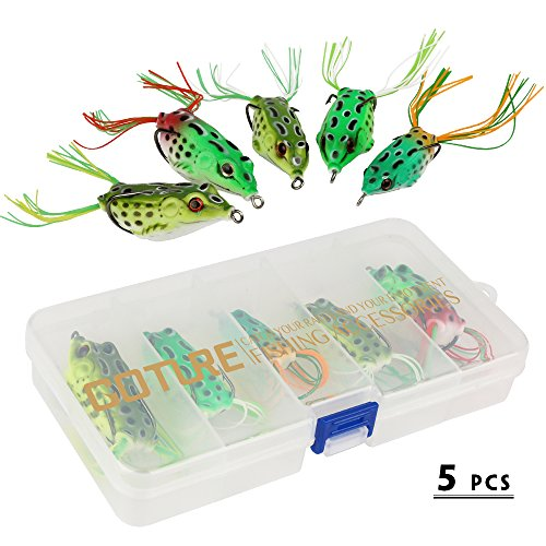 YOGAYET Soft Frogs Topwater Fishing Lures Crankbait Hooks Bass Bait Tackle 5Pcs with boxes (Fishing Hooks For Bass compare prices)