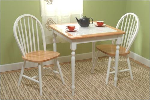 Dining Set - Table and Two Chairs - Tile Top Table (White) (Sizes Vary)