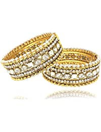 Shining Diva Gold Plated Pearl Bangles For Women