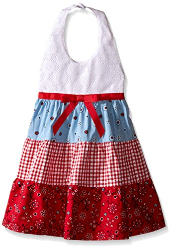 Blueberi Boulevard Little Girls Tiered Halter Bandana Sundress, Multi, 3T