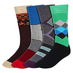 His Honour Men's Fashion Full Length Socks (Pack of 4 Pairs) - Assorted