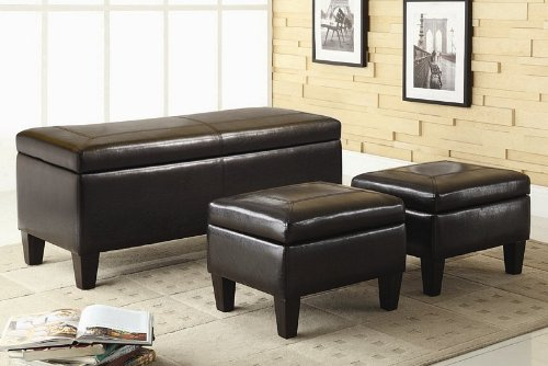 3pc-storage-bench-and-ottomans-set-in-dark-brown-leatherette