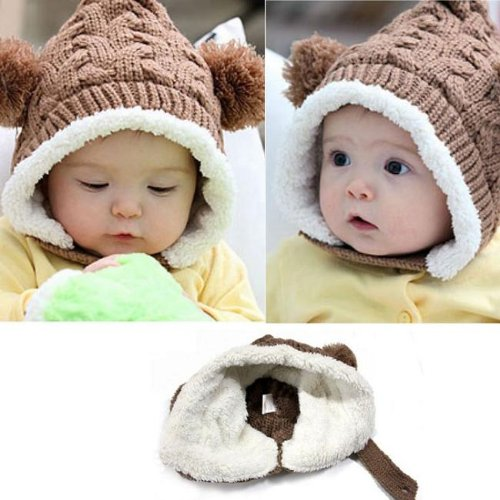 Towallmark 1Pc Lovely Knitting Wool Keep Warm Beanie Cap With Dual Balls For Kids (Coffee) front-1014369