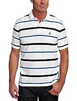 Nautica Men's Striped Anchor Deck Polo Shirt