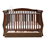 BabyStyle Hollie Sleigh Cot Bed & Drawer PLUS Foam Mattress (Walnut)