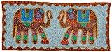 Little India Elephant Pair Jaipuri Applique Cotton Wall Hanging 520  (43 cm x 91.4 cm, Blue,DLI3WHG520)