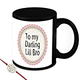 Rakhi Gift For Brother - HomeSoGood To My Darling Lil Bro Black Ceramic Coffee Mug With Rakhi - 325 ml