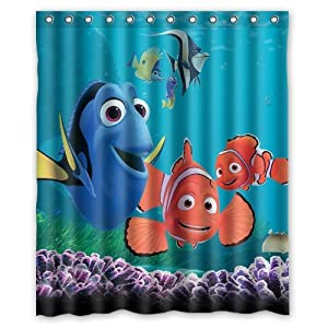 Turtle and fish finding nemo special printed bathroom shower curtain waterproof - Finding nemo bathroom sets ...
