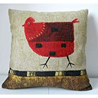 "Goy 1 X Cotton Linen Square Decorative Throw Pillow Case Cushion Cover Green Background Red Chicken 18 ""X18 "" from deardeer"