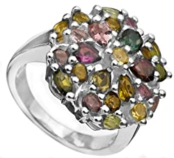 Exotic India Faceted Tourmaline Ring - Sterling Siver