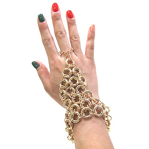 Ring Cluster Link Chain Bracelet-Ring Hand Jewelry in Gold Tone JB7005GD
