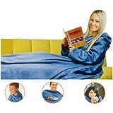 Solid Blue Comfy Throw Body Fleece Blanket Pockets