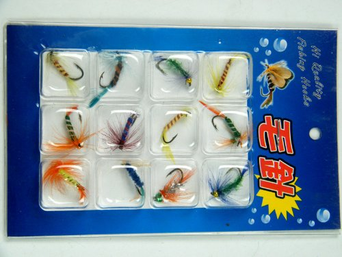 12pcs Style Butterfly Treble Hook Hard Dry Fly Flies Fish Lure Fly Fishing Trout Fly Tackle