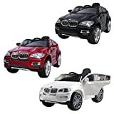 1234-Buy 2014 New BMW X6 Licensed Kids Ride on 12V Twin Motors Electric Car + parental remote control + open able door + battery capacity indicator + LED Lights + mp3 input + music volume control, available in colour White, Black, Blue and Red (White)