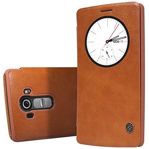 MYLB Slim book-style PU vibrazione del cuoio della copertura della cassa del Custodia case cover telefono per LG G4 smartphone (marrone)
