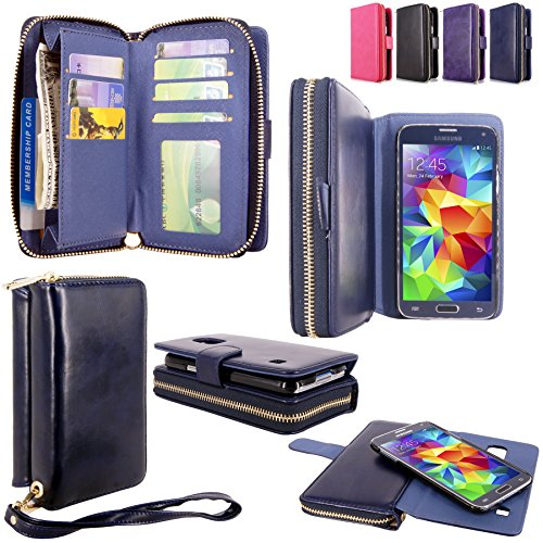 Galaxy S5 Case - Cellularvilla PU Leather flip Wallet Bag Pouch Case with Credit Card Slots Pockets & Detachable Back Cover For Samsung Galaxy S5 S 5 I9600 SM-G900 AT&T / T-Mobile (Midnight Blue) (Tmobile Samsung Galaxy S5 Case compare prices)