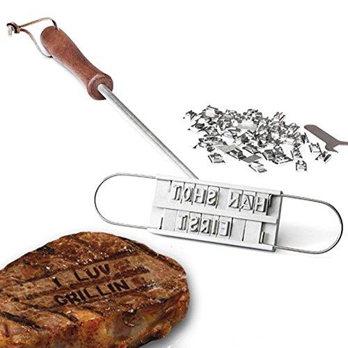 AMOS Fer à Marquer pour Fête de BBQ Barbecue Gril avec 55 Lettres Interchangeables Marqueur à Viande Steak Bifteck Hamburger Personnalisé