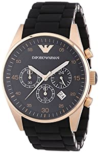 Emporio Armani Men's AR5905 Stainless-Steel Quartz Watch with Black Dial