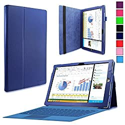 Surface Pro 3 Case - Infiland Folio PU Leather Stand Case Cover For Microsoft Surface Pro 3 Windows 8.1 Pro 12-Inch Tablet Only , Navy