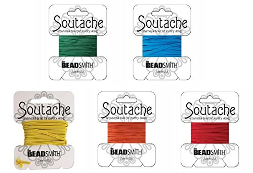 Beadsmith Soutache Braided Rayon Cord / Trim Bundle: 5 Colors, 3mm Wide, 3 Yds per color 'Circus Mix