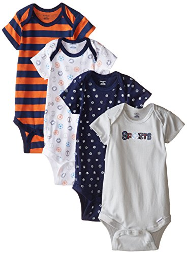 Gerber Baby-Boys Variety Onesies Brand Bodysuits, Sports, 12 Months (Pack of 4)
