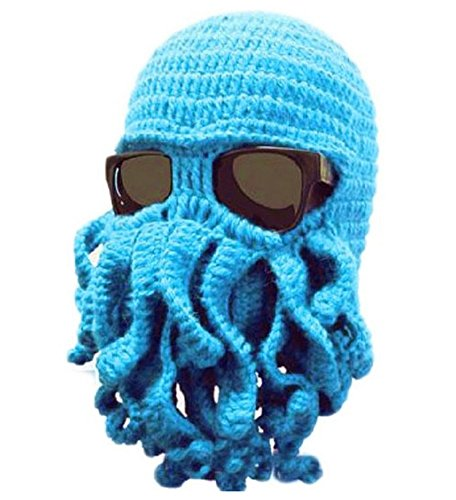 Octopus Beard Knit cap and mask to keep warm in winter or use as costume- Turquoise