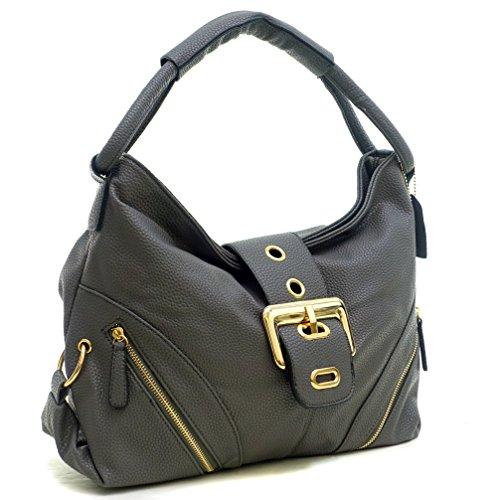 dasein-classic-fashion-hobo-shoulder-bag-handbag-with-zippered-pockets-grey-new
