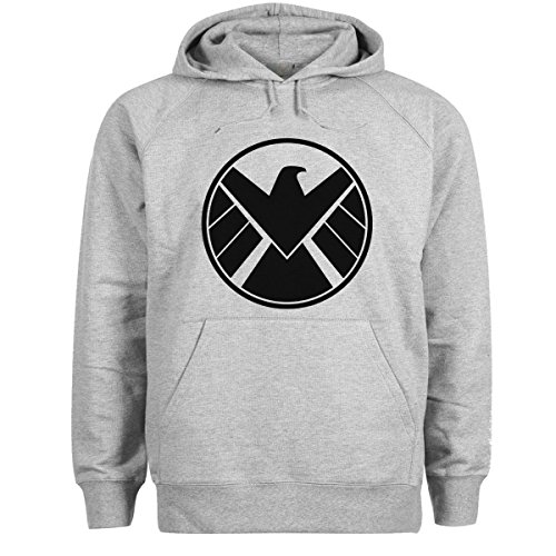 Agents Of S H I E L D Shield Cool Logo Grigio Felpa con cappuccio unisex Large