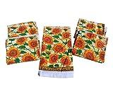 Bright Sunflowers 5 Piece 100% Cotton Designer Kitchen Towels
