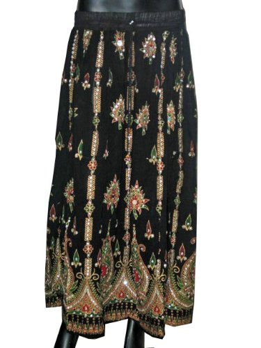 Womens Long Skirts -Black Red Sequin Beaded Dcrapechic Womens Skirt Bohemian Chic Free Shipping
